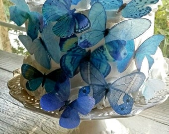 Edible Pastel-Blue Butterfly / Edible Cake / Cupcake Toppers, (12)