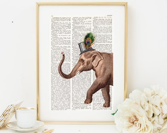 Dictionary Art CHIC ELEPHANT, Vintage illustration on antique book paper, Wall decor, Dictionary page, Wall art, Elephant with top hat #035