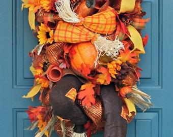 Fall wreath, scarecrow wreath, Autumn wreath