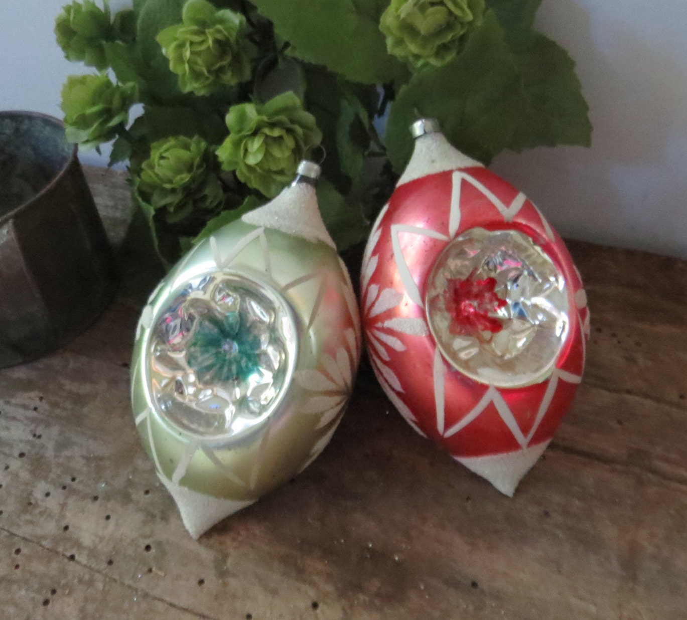Vintage christmas tree ornament set of large glass red green