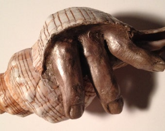 Conch Shell - 3 Antiqued Bronzed colored Fingers
