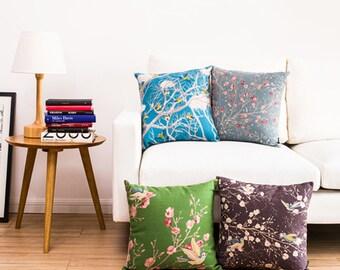 Lovely Pillow cases 45x45cm blue/green/grey/purple floral blossom petals print case