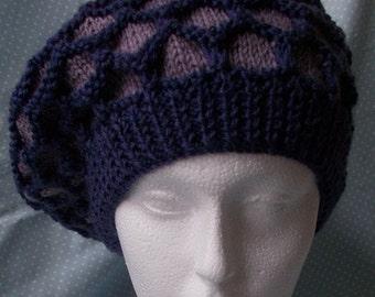 Purple Bobble  Beret/Beanie in pure merino wool