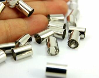 Raw Brass Tube, 10pcs (10x7mm) Raw Brass Tube Beads, Silver Colour Raw Brass Tube, Wide Hole Raw Brass Tubes, Brass Tube Spacer, Tube Spacer