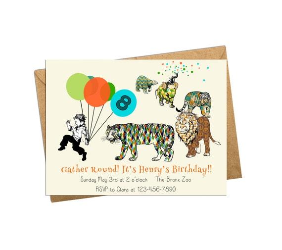 Digital Birthday Invitation. Animals On Parade