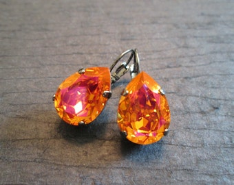Orange Pink Gunmetal Earrings/Bridesmaid Jewelry/Astral Pink Swarovski Earrings/Crystal Statement Earrings/Mother of the Bride/OrangeCrystal
