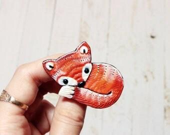 Fox Jewelry Brooch Animal Fox Jewelry Pin Polymer Clay Fox Cute Jewelry Brooch Sleepy Fox Woodland Animal Jewelry