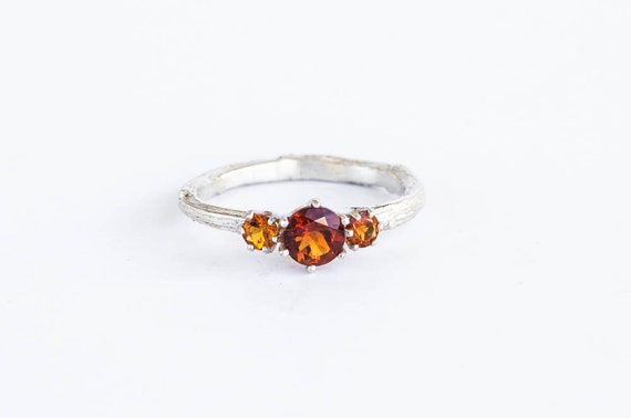 Fire citrine twig engagement ring, citrine engagement ring, three stone ring