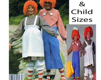 RAGGEDY ANN, ANDY, McCalls 2655, 5254, 7232, Adult Costume, Child Costume, Sewing Pattern, Dress, Shirt, Pants, Bloomers, Apron, Hat