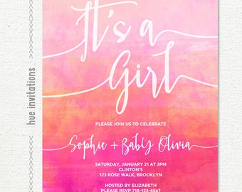 its a girl baby shower invitation, pink coral magenta hot pink watercolor girl baby shower invitation, customized printable digital file