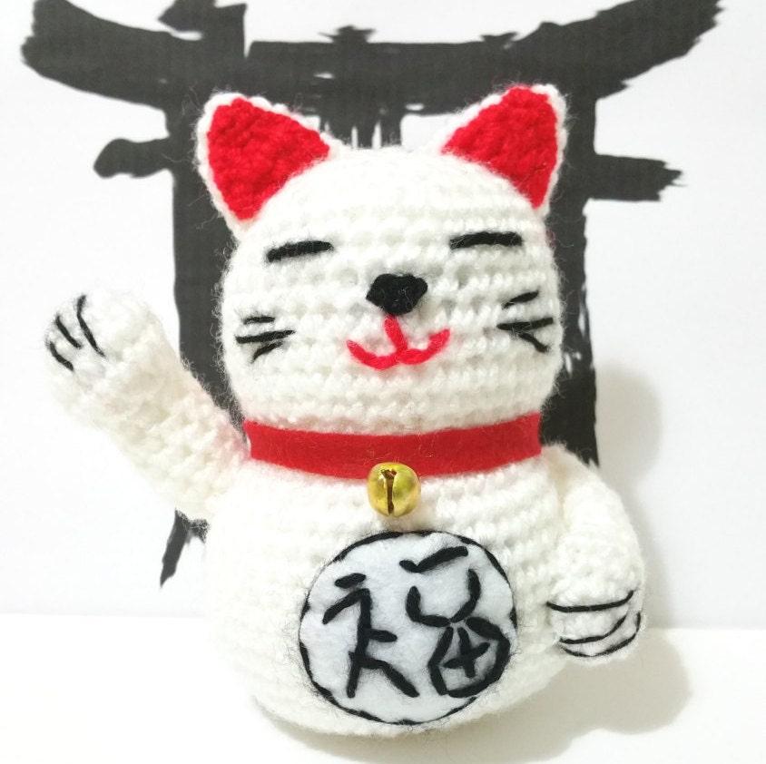 Maneki Neko Amigurumi Patron : MANEKI NEKO CAT japan amigurumi money cash happiness luk