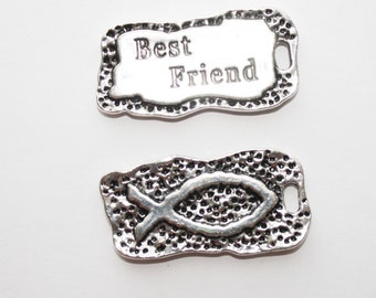 Best Friends Charms, Best Friends Pendant, Tag Charms, Necklace Charms,   - 41x21mm - 2ct - #552