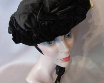 SALE! Victorian Hat Victorian Era Bonnet Black Velvet Hat Edwardian Hat Faux Pearl Decoration Ladies Hat
