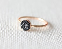 Black Druzy Ring | Druzy Stone Ring | Black Sparkly Gold Ring [Eclipse Ring: Black]