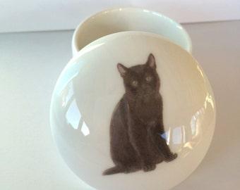 Small Black Cat Trinket Box