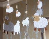 Applique Felted Sheeps Mobile. Nursery Mobile, Baby mobile, felt mobile, hanging mobile.