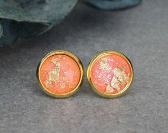 Peach Stud Earrings, Peach Earrings, Coral Earrings, Coral Stud Earrings, Gold Stud Earrings, Gold Earrings, Peach Post Earrings