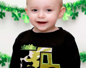 Boy's St Patrick's Day Shirt with Camo Shamrock Truck and Name