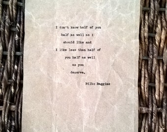 Lord of the Rings Quote Typewritten Bilbo Baggins