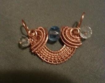 Copper Wire Woven Pendant With Swarovski Beads
