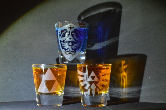 Zelda etched shot glass set of 3 fan art
