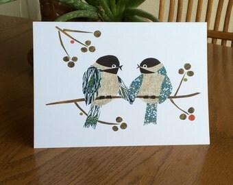 Chickadees Card, Lovebirds, Bird Card, cut paper art, whimsical, anniversary card