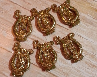 Mini Harp Christmas Ornaments/Charms/Pendants/Decor-24x25mm-6pc-Gold Glitter-Plastic-Old Stock-Never Been Used