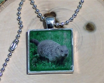 Woodchuck Necklace Groundhog Necklace Marmot Portrait  - Woodchuck Necklace - Silver Resin Metal Square Pendant Necklace - MADE TO ORDER