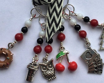 Set of Stitch Markers  Twin Peaks themed
