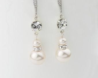 Bridal Earrings, Wedding Earrings, Rhinestone Earrings - Amelia