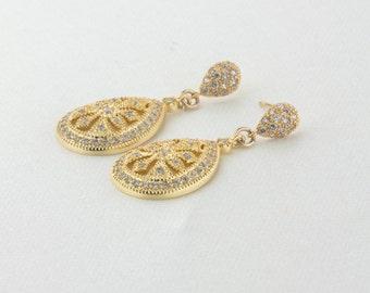 Bridal Earrings, Wedding Earrings, Rhinestone Earrings - Julia