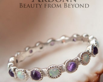 Eternity Sterling Silver White Opal And Amethyst Ring
