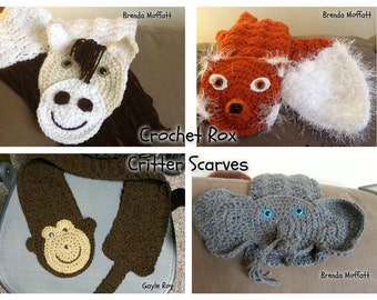 Critter Scarves pattern pack Horse, Monkey, Elephant, Fox  w/bonus Cat scarf pattern, Crochet animal scarf PATTERNS