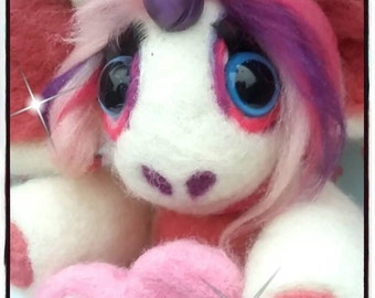 Rainbow Unicorn in White, purple  and Pink Needle felted, Made to order.