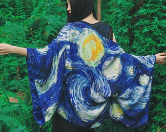 Lost in Kyoto Collection Japanese blue Van Gogh Starry night multiple ways to wear kimono top