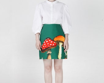 Once upon a time collection Alice's wonderland rabbit hole dark green short skirt