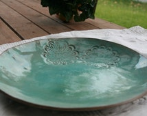 Turquoise Serving Bowl made from Gray Clay with a glossy glaze - House warming gift idea