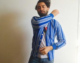 Vtg Irish Donegal Blue Striped Cardigan