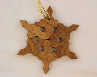 Sapele Snowflake Ornament