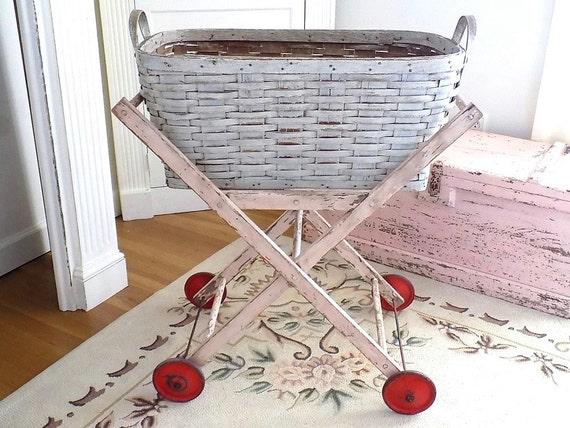 OMG Vintage PINK Folding Laundry Cart W/ White Wicker Basket