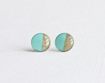 Mint Gold Color Block Stud Earrings -  Hypoallergenic Earrings for Sensitive Ears