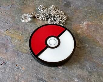 Pokeball - Pokemon Laser cut acrylic necklace or brooch