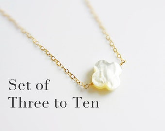Bridesmaid Gift Sets:  Mother of Pearl Quatrefoil w/ simple Gold Fill or Sterling Silver Chain, Clover Necklace (No Ordinary Love Handmade)