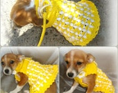 Dog dress / Dog clothing /Gift ideas /Poodle dress | Chihuahua vest | Pet Clothing /crochet dress handmade/ yellow & white