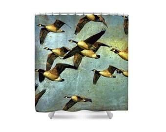 Bird Shower Curtain, Rustic Home Decor, Bird Decor, Cabin Decor, Canadian Sellers, Canada Geese, Bird Bathroom, Blue Gold Decor