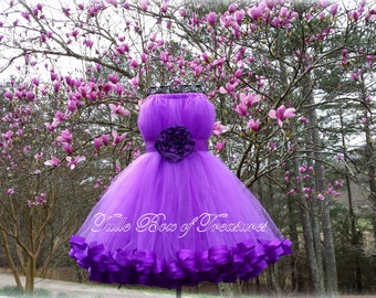 Purple flower girl dress – Etsy