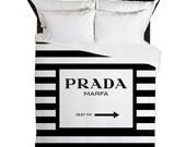 Duvet Cover, Prada Marfa, Duvet Cover Queen, Fashion Decor, Black and White Stripes, Girls Bedding, Teen Duvet, Gifts for Her