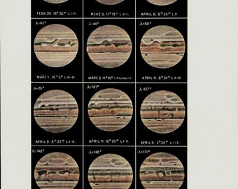 1920s Jupiter Old astronomy print,