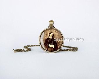 Oscar Wilde Photo Necklace Writer Pendant Sepia Literary Jewelry vintage cb228
