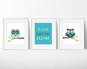 Owl Bathroom Prints   Wash, Flush, Brush Prints   Kids Bathroom Decor    Bathroom